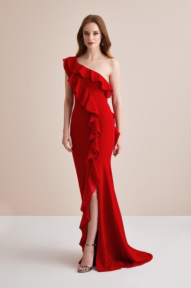 Oleg by Oleg Cassini - Kırmızı Tek Kollu Fırfırlı Uzun Abiye Elbise
