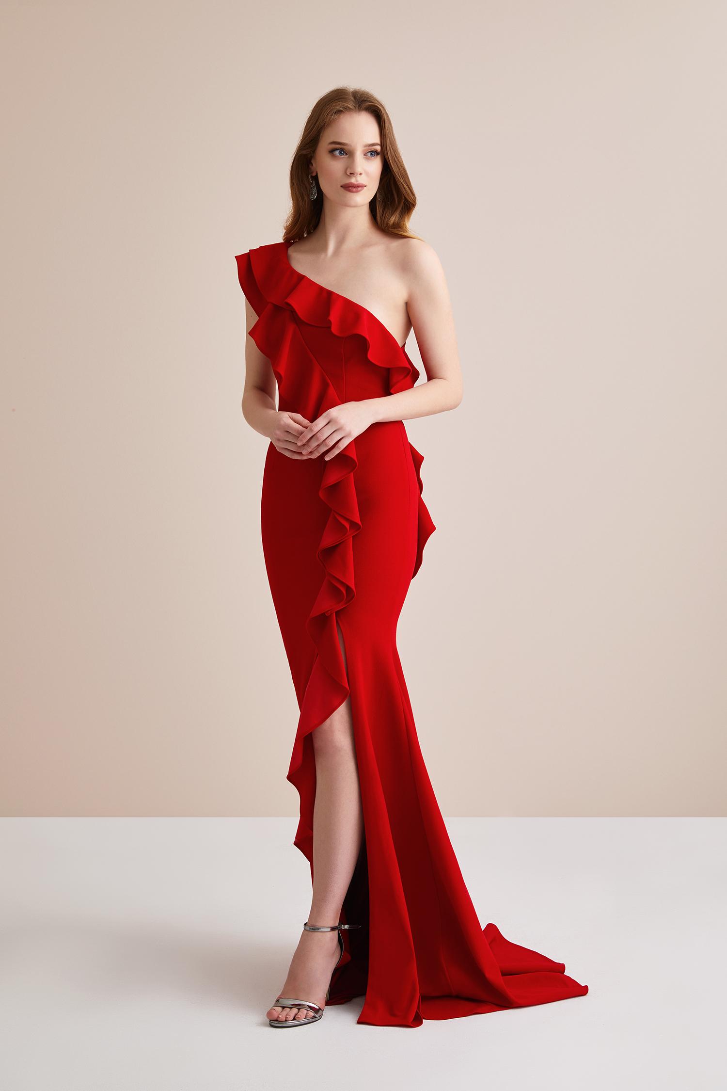 Kırmızı Tek Kollu Fırfırlı Uzun Abiye Elbise - Thumbnail