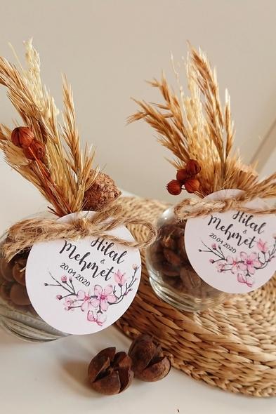 Bridalook - Kuru Çiçek Detaylı Kahve Şişeleri