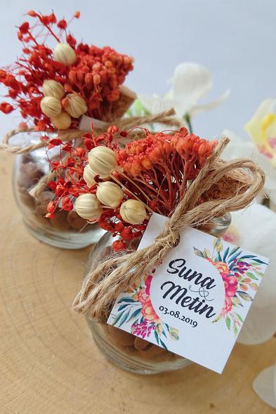 Bridalook - Kuru Çiçekli Kahve Şişeleri