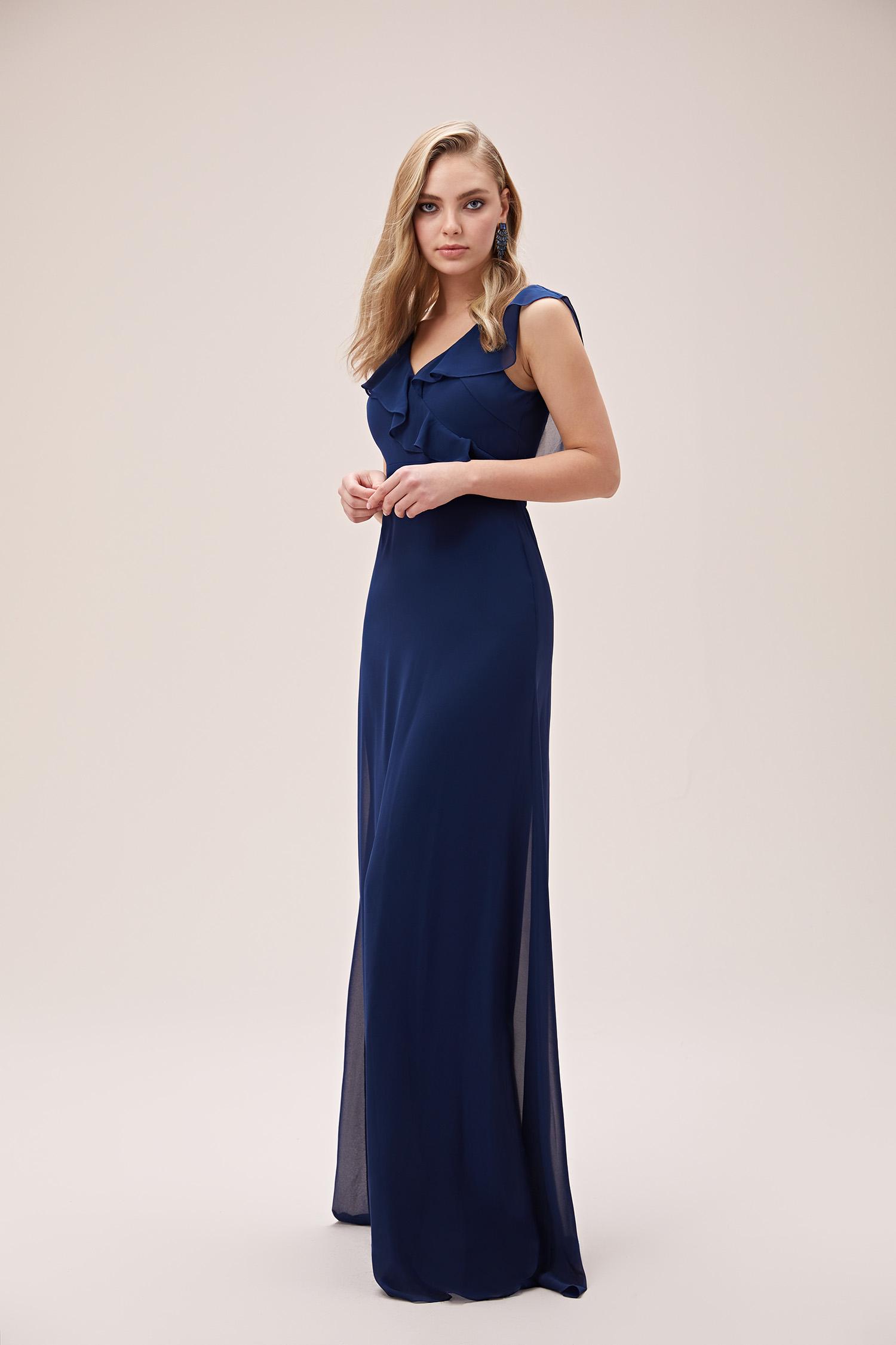 Lacivert Askılı Fırfırlı Şifon Uzun Abiye Elbise - Thumbnail