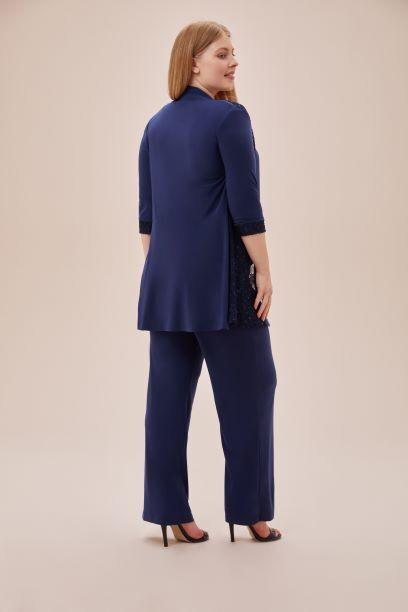 Lacivert Dantel Detaylı Şifon Büyük Beden Pantolon Ceket Takım - Thumbnail