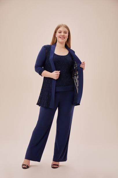 Lacivert Dantel Detaylı Şifon Pantolon Ceket Takım - Thumbnail