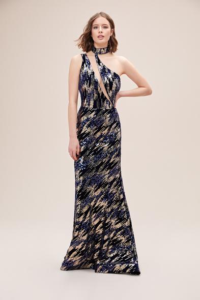 Alfa Beta - Lacivert Desenli Payet İşlemeli Halter Yaka Uzun Abiye Elbise