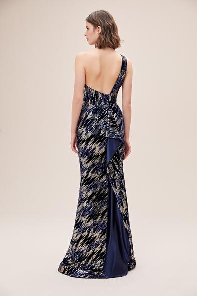 Alfa Beta - Lacivert Desenli Payet İşlemeli Halter Yaka Uzun Abiye Elbise (1)