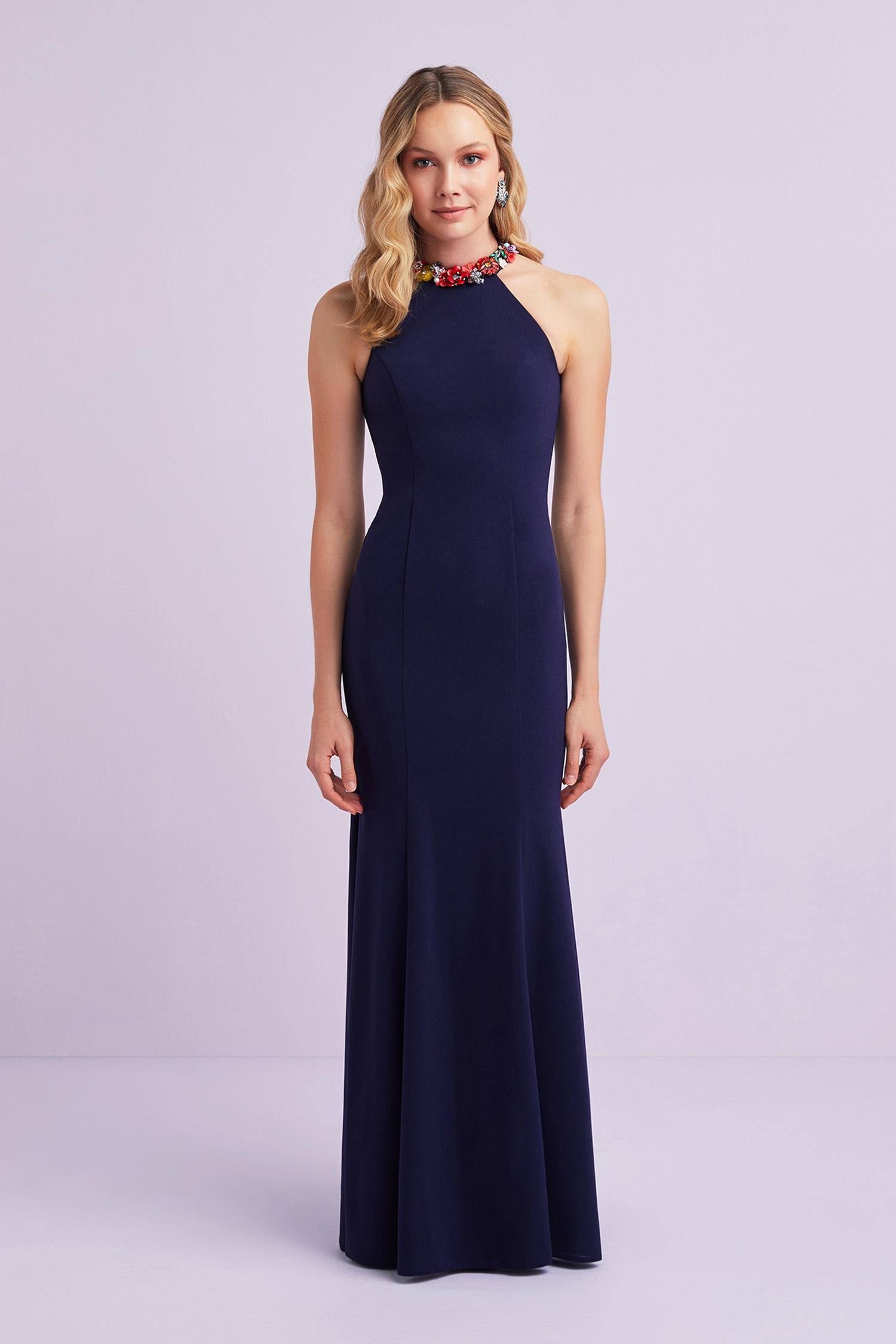 Lacivert Halter Yaka Detaylı Krep Uzun Abiye Elbise - Thumbnail