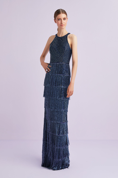 Lacivert Halter Yaka Payetli Püskül Detaylı Uzun Abiye Elbise