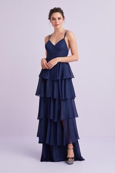 Lacivert İnce Askılı Eteği Fırfırlı Şifon Uzun Elbise