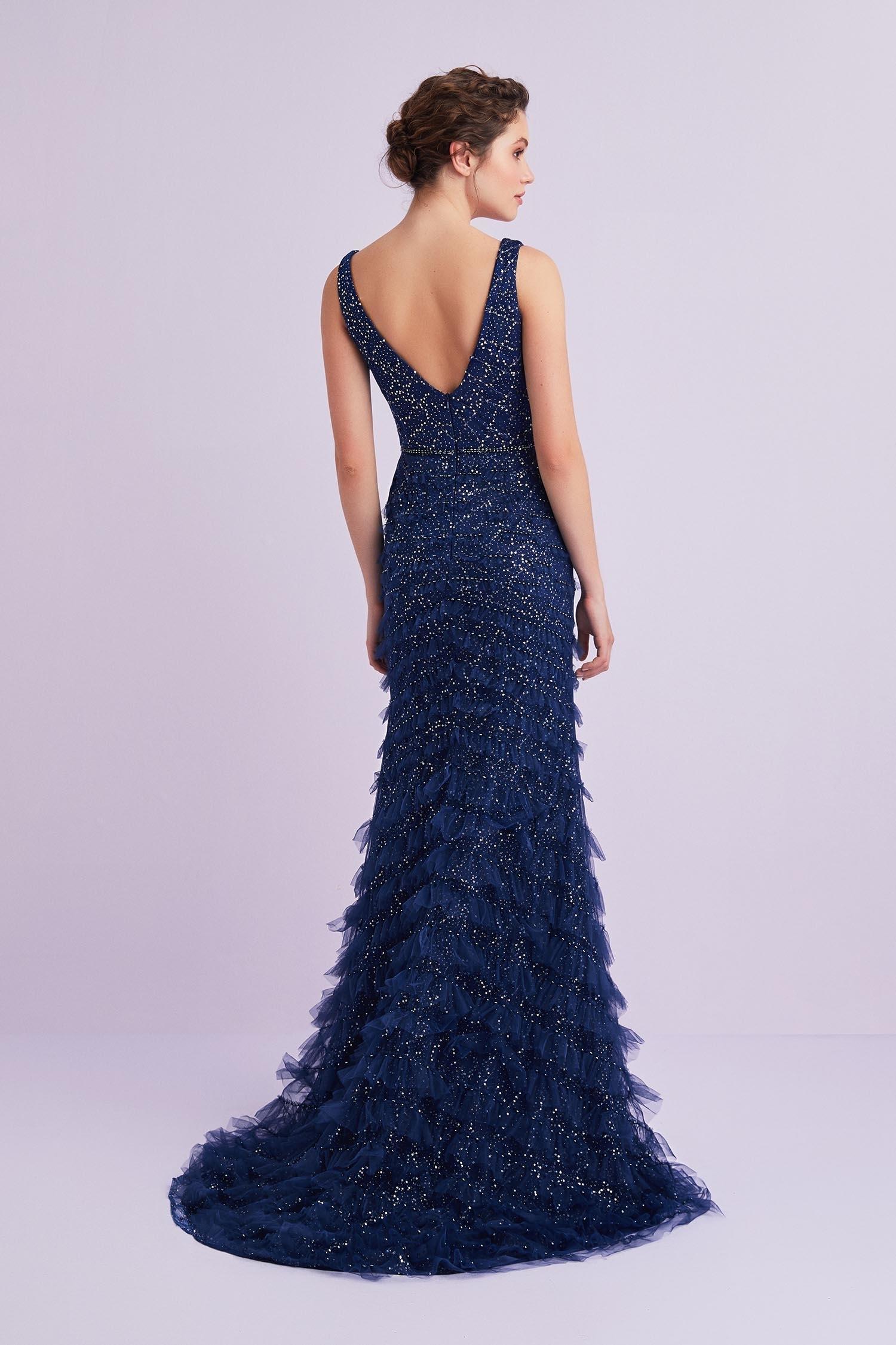 Lacivert Kalın Askılı Payet İşlemeli Uzun Elbise - Thumbnail