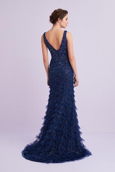 VCP - Lacivert Kalın Askılı Payet İşlemeli Uzun Elbise (1)
