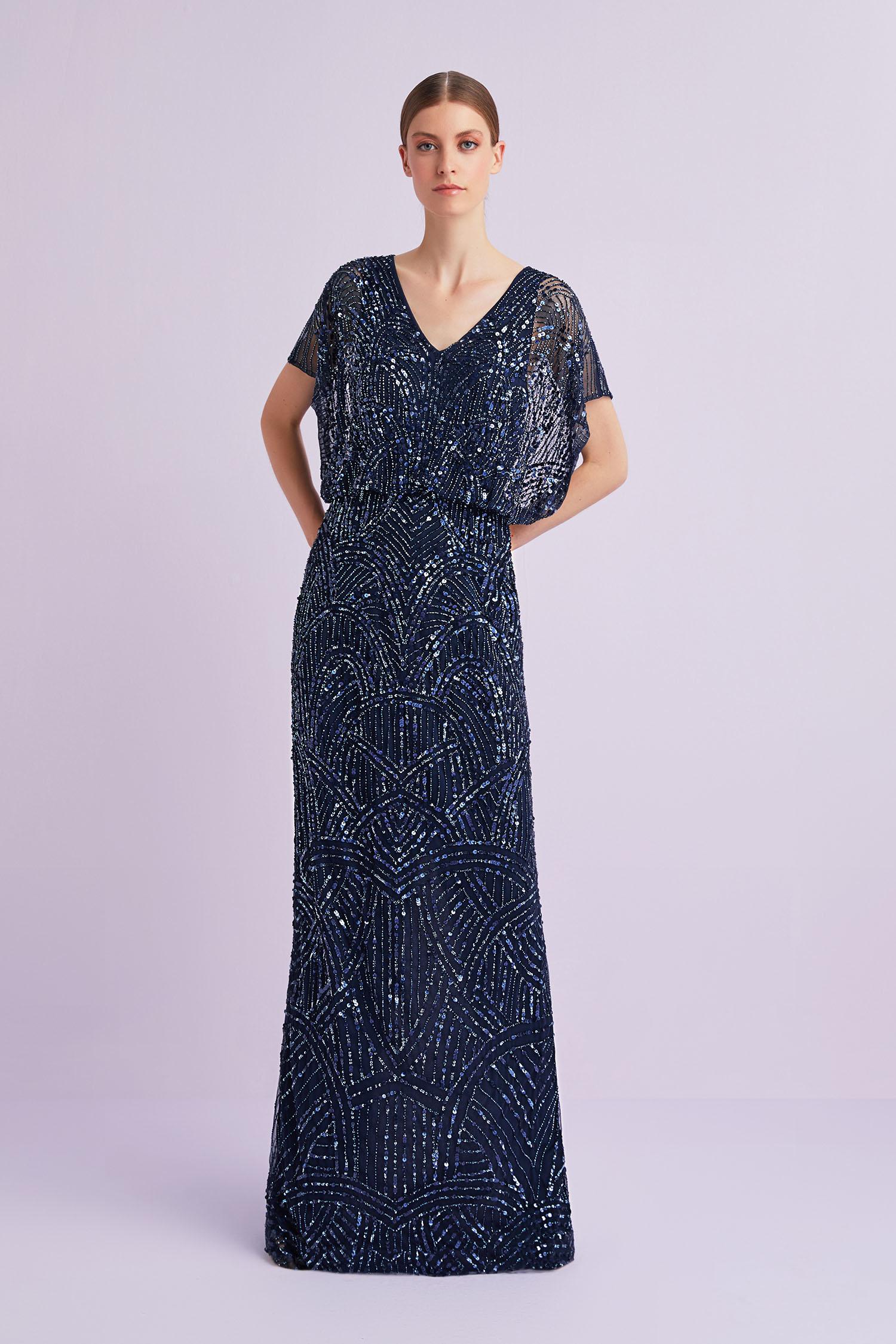 Lacivert Kısa Kollu Payet İşlemeli Uzun Abiye Elbise - Thumbnail