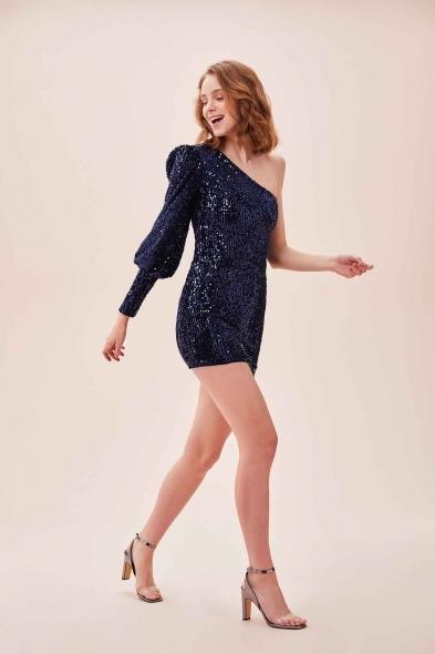 OLEG CASSINI TR - Lacivert Payet İşlemeli Tek Kol Mini Kadife Elbise (1)
