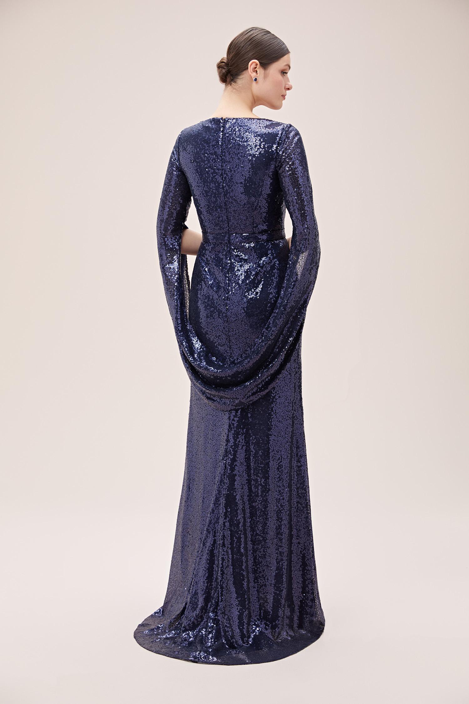 Lacivert Payet İşlemeli V Yaka Uzun Abiye Elbise - Thumbnail