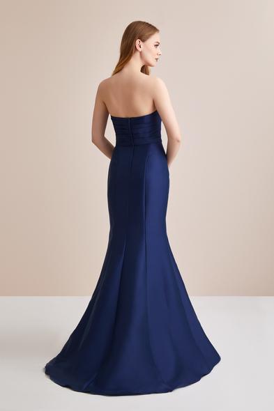 OLEG CASSINI - Lacivert Straplez Mikado Uzun Abiye Elbise