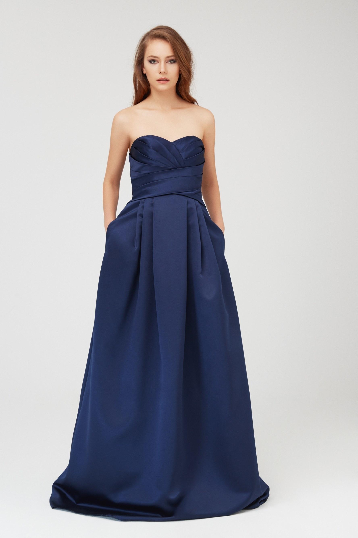 Lacivert Straplez Saten Uzun Abiye Elbise - Thumbnail
