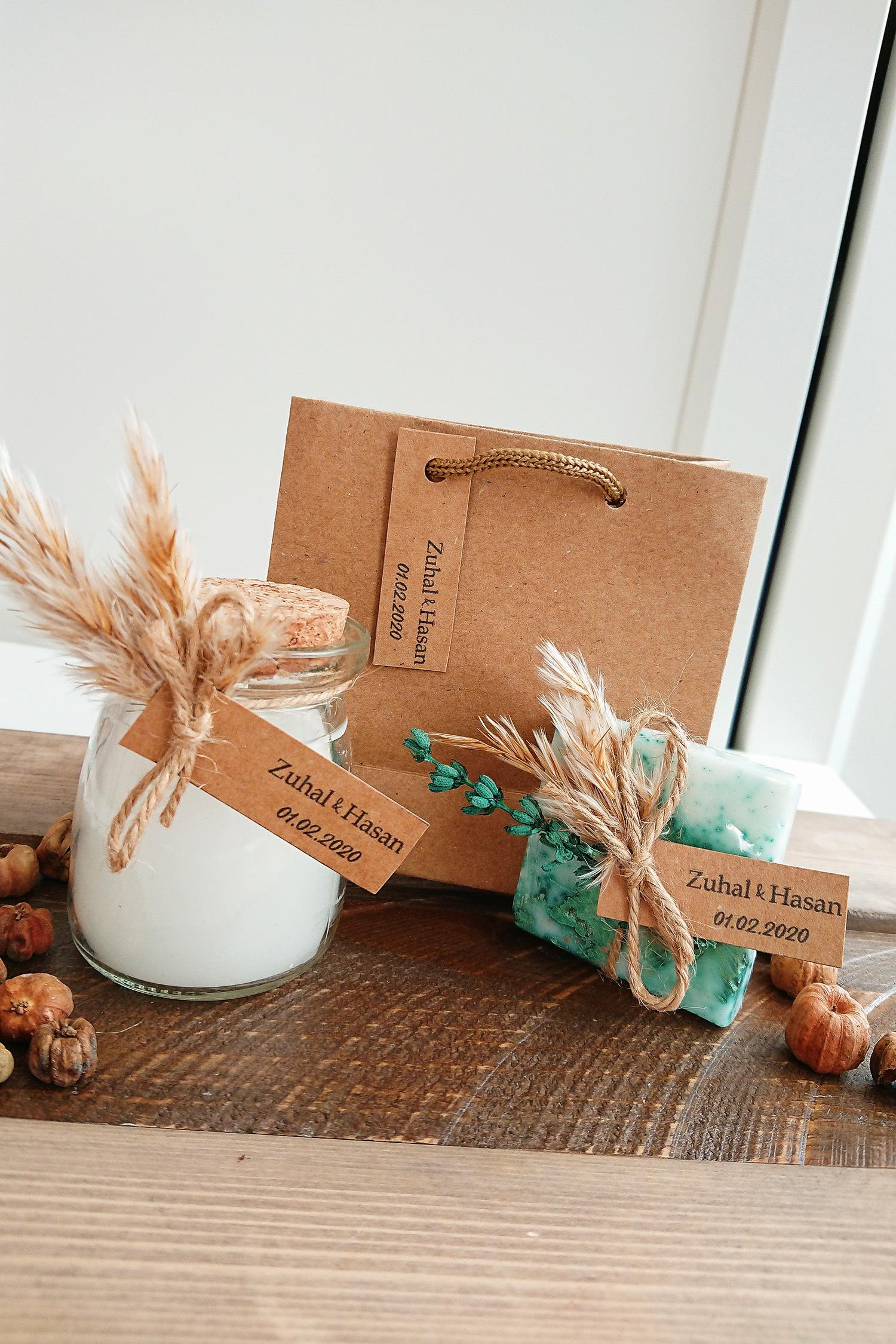 Lavanta Detaylı Sabun ve Büyük Mum Set