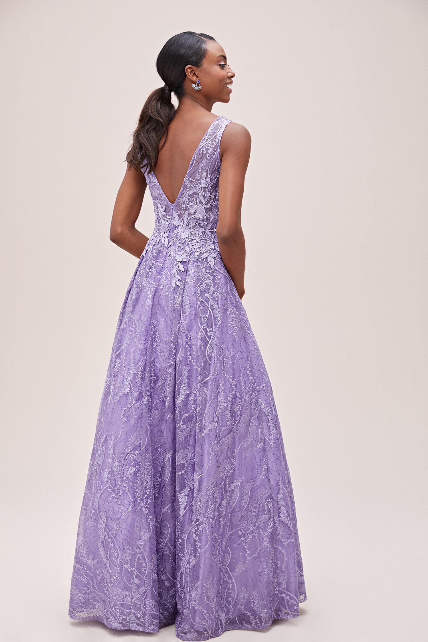 Lavanta Rengi V Yaka Askılı Prenses Abiye Elbise - Thumbnail