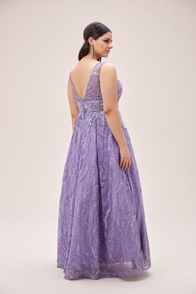 Viola Chan - Lavanta Rengi V Yaka Askılı Prenses Büyük Beden Abiye (1)