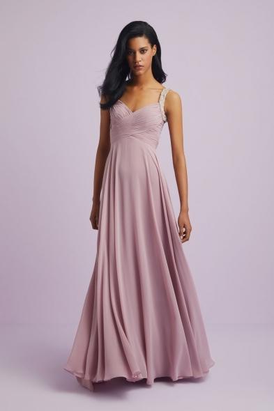 Viola Chan - Leylak Rengi Askılı Drapeli Şifon Uzun Abiye Elbise