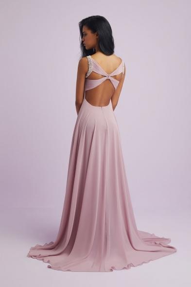 Viola Chan - Leylak Rengi Askılı Drapeli Şifon Uzun Abiye Elbise (1)