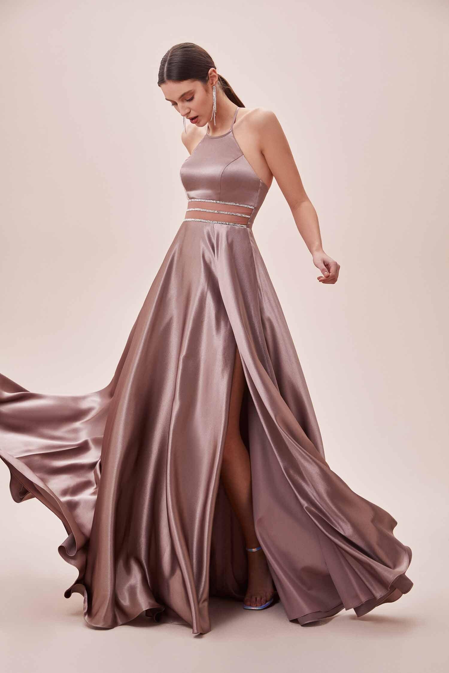 Leylak Rengi Halter Yaka Yırtmaçlı Uzun Elbise - Thumbnail