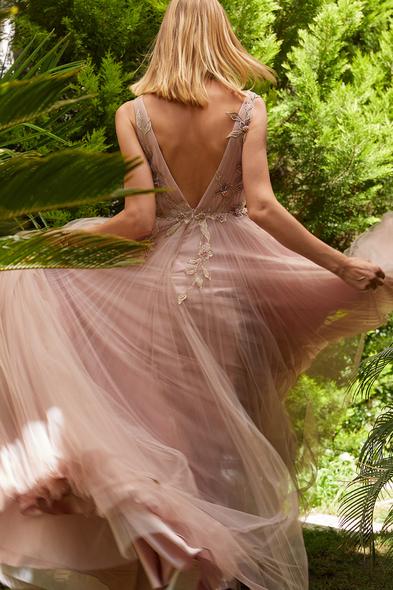 Viola Chan - Leylak Rengi İllüzyon V Yaka Tül Uzun Abiye Elbise (1)