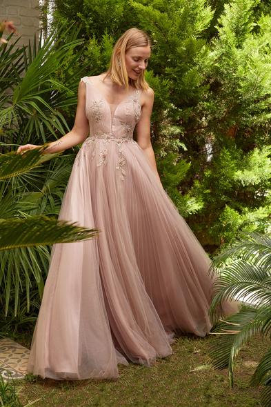 Viola Chan - Leylak Rengi İllüzyon V Yaka Tül Uzun Abiye Elbise