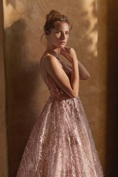 Viola Chan - Leylak Rengi İllüzyon Yaka Çiçek Aplikeli Abiye Elbise (1)