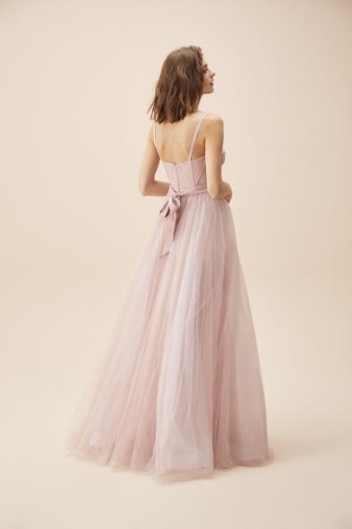 Viola Chan - Leylak Rengi İnce Askılı Korseli Tül Etekli Uzun Abiye Elbise (1)