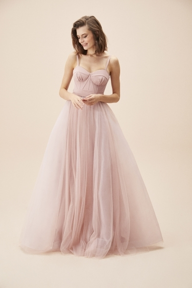 Viola Chan - Leylak Rengi İnce Askılı Korseli Tül Etekli Uzun Abiye Elbise