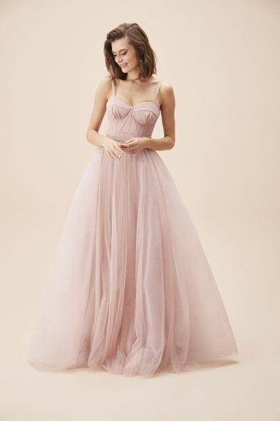 Viola Chan - Leylak Rengi İnce Askılı Korseli Tül Etekli Uzun Büyük Beden Abiye Elbise (1)
