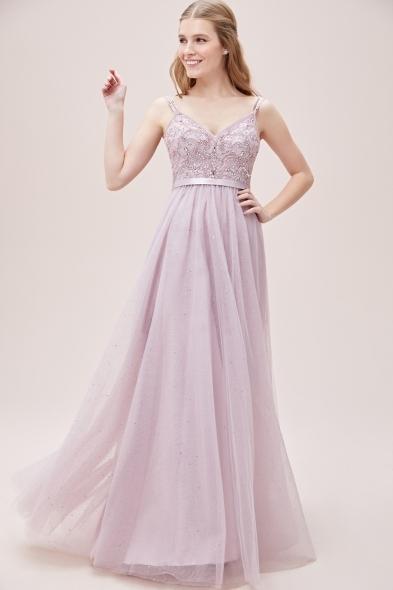 Viola Chan - Leylak Rengi İnce Askılı Taşlı Tül Etekli Uzun Abiye Elbise (1)