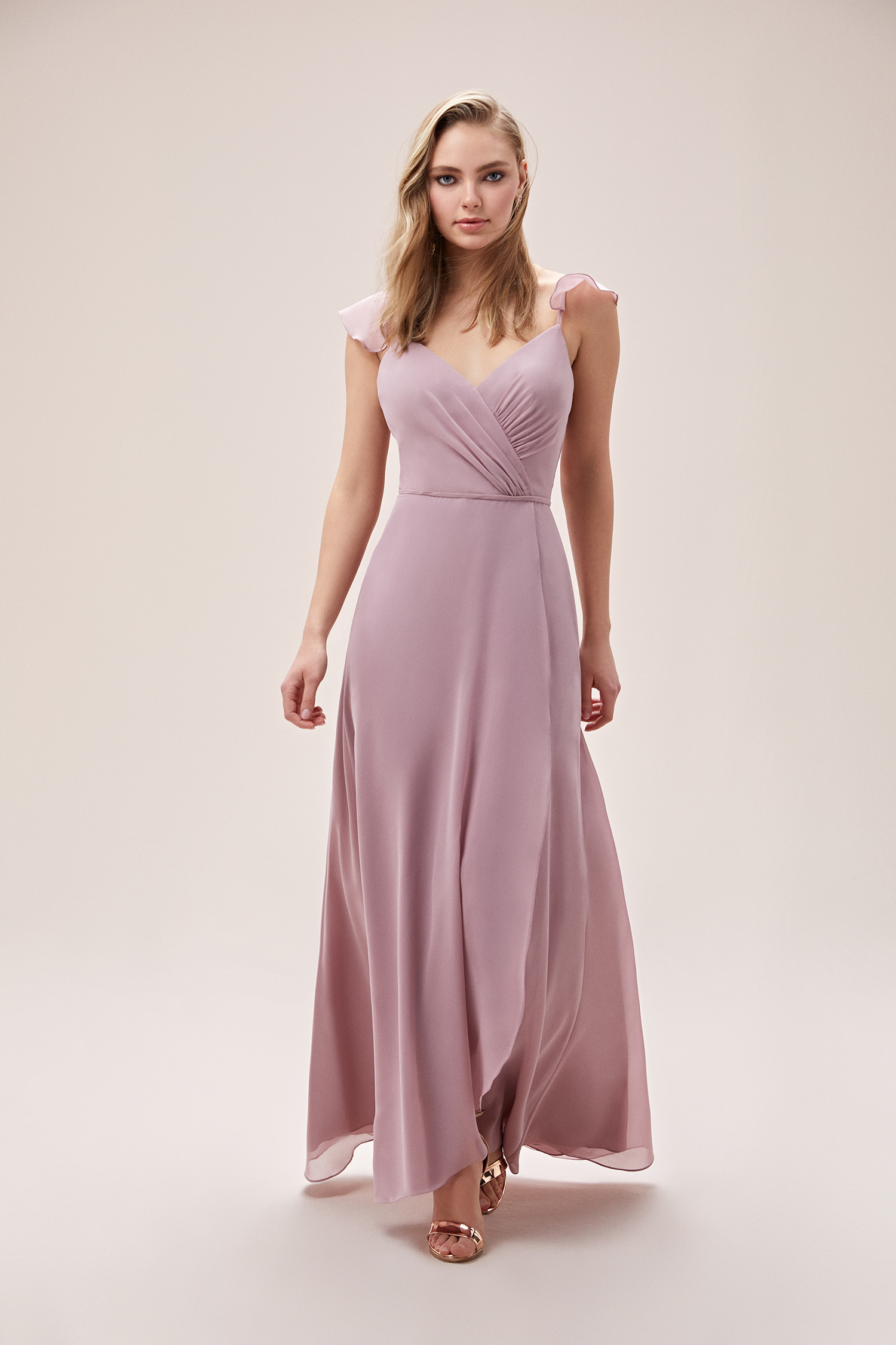 Leylak Rengi Yırtmaçlı Şifon Drapeli Elbise - Thumbnail