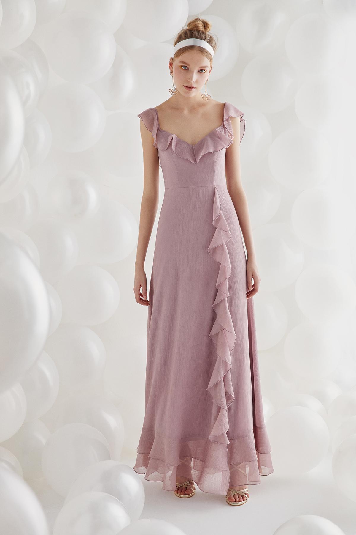 Leylak Rengi Fırfırlı Yırtmaçlı Uzun Elbise - Thumbnail