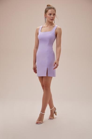 OLEG CASSINI TR - Lila Askılı Kare Yaka Mini Krep Elbise