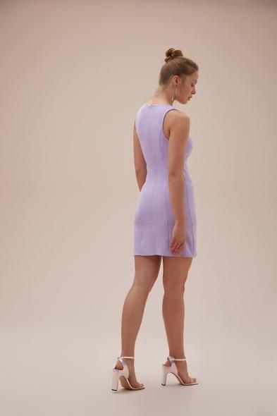 OLEG CASSINI TR - Lila Askılı Kare Yaka Mini Krep Elbise (1)