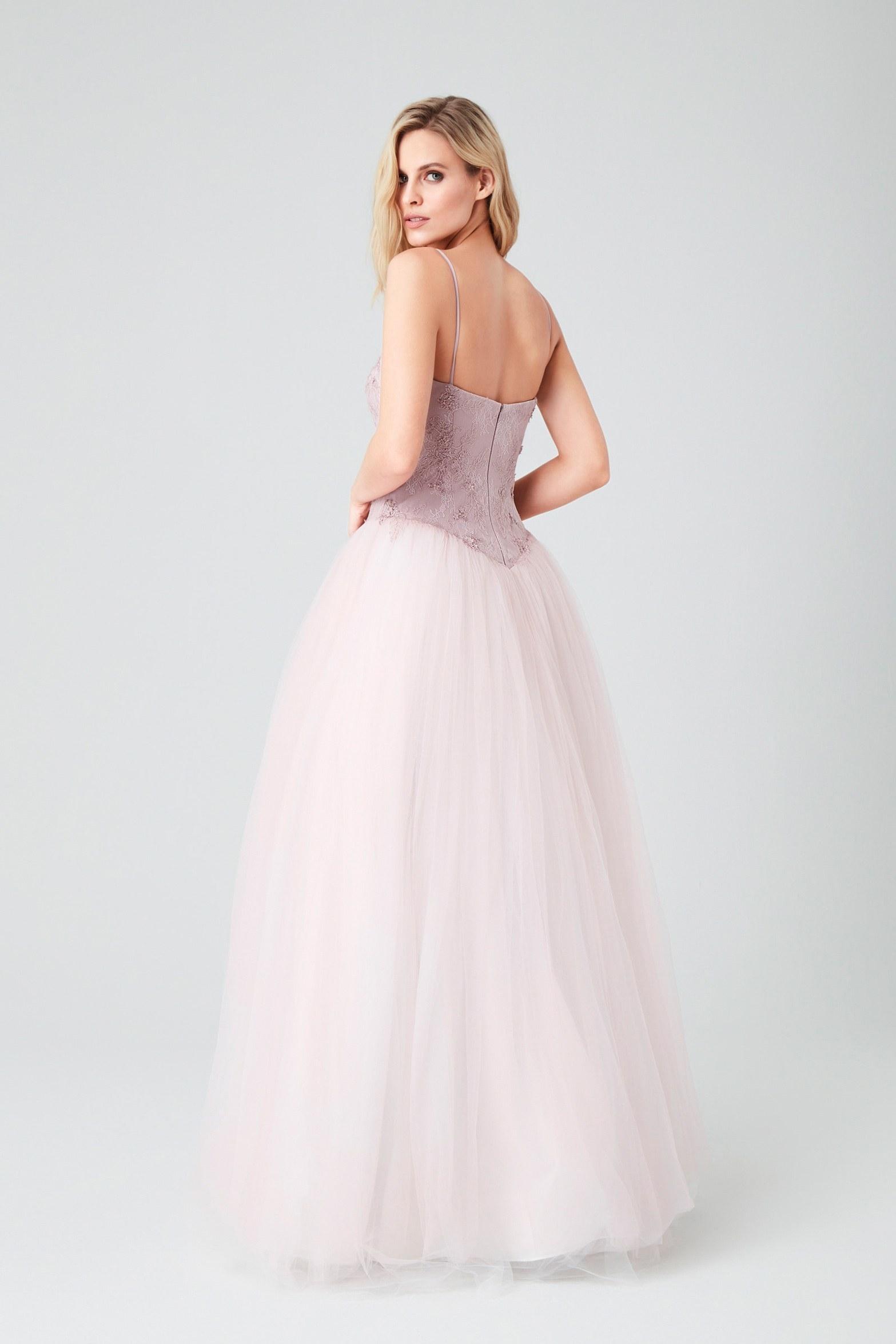 Lila Askılı Tül Etekli Uzun Abiye Elbise - Thumbnail