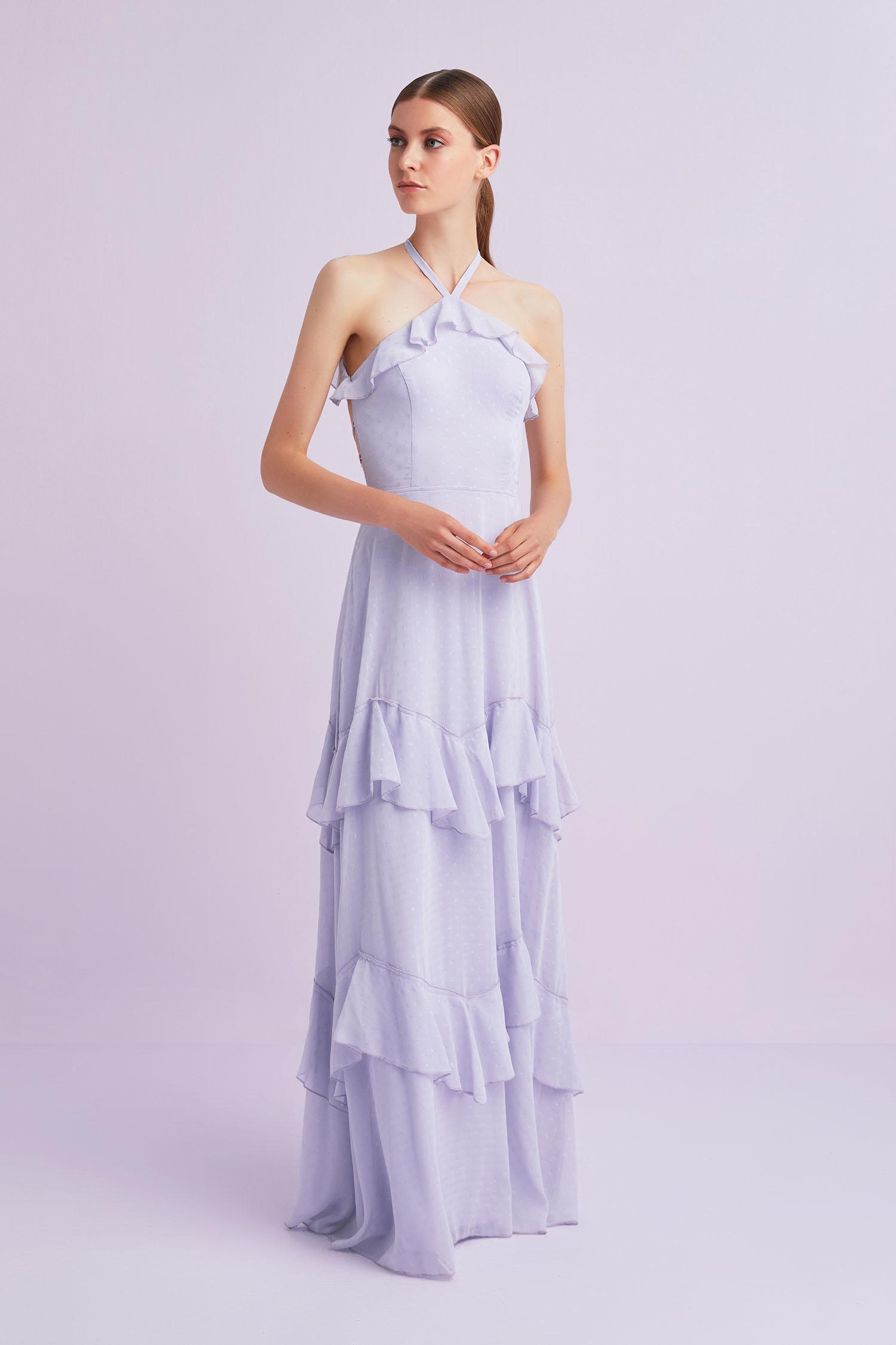 Lila Boyundan Bağlı Şifon Uzun Büyük Beden Elbise - Thumbnail