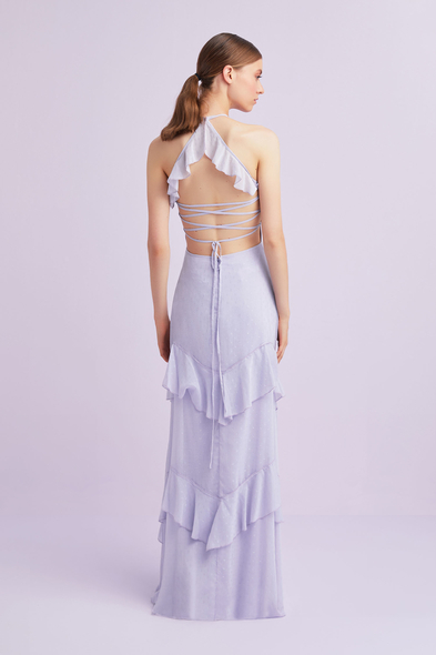 Lila Boyundan Bağlı Şifon Uzun Elbise