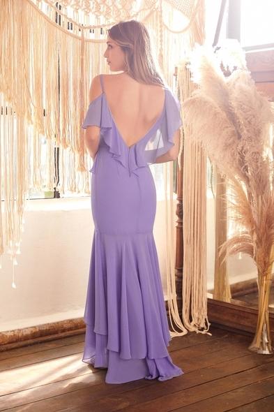 Lila Rengi Askılı Önü Kısa Arkası Uzun Şifon Elbise