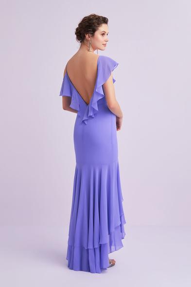 - Lila Rengi Askılı Önü Kısa Arkası Uzun Şifon Elbise - Oleg Cassini
