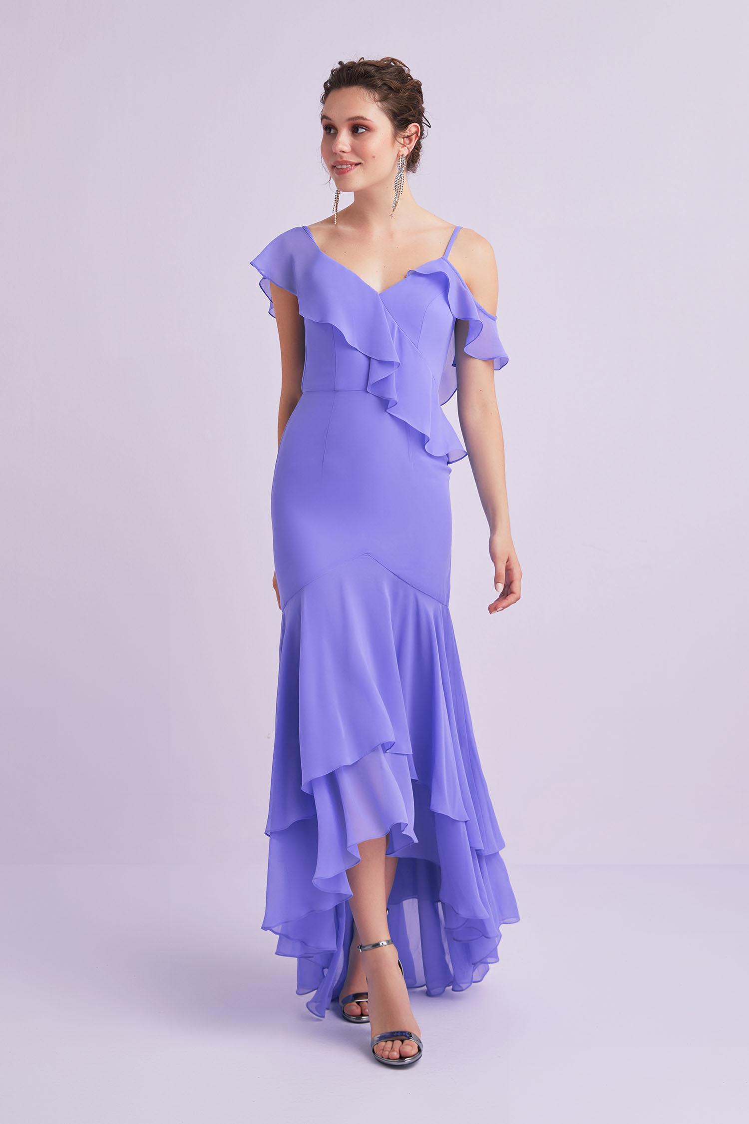 Lila Farbalalı Önü Kısa Arkası Uzun Şifon Elbise - Thumbnail