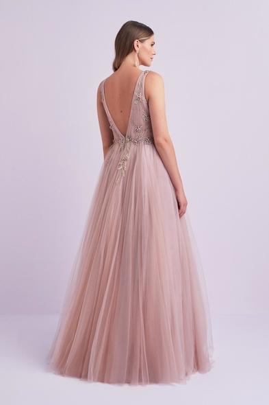 - Lila Rengi Askılı Tül Etekli Uzun Büyük Beden Abiye Elbise - Oleg Cassini