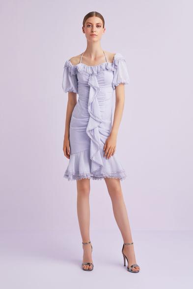 Lila Rengi Balon Kollu Fırfırlı Kısa Şifon Elbise