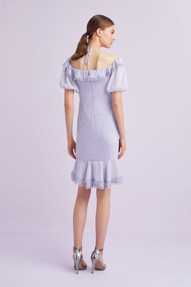 - Lila Rengi Balon Kollu Fırfırlı Kısa Şifon Elbise - Oleg Cassini