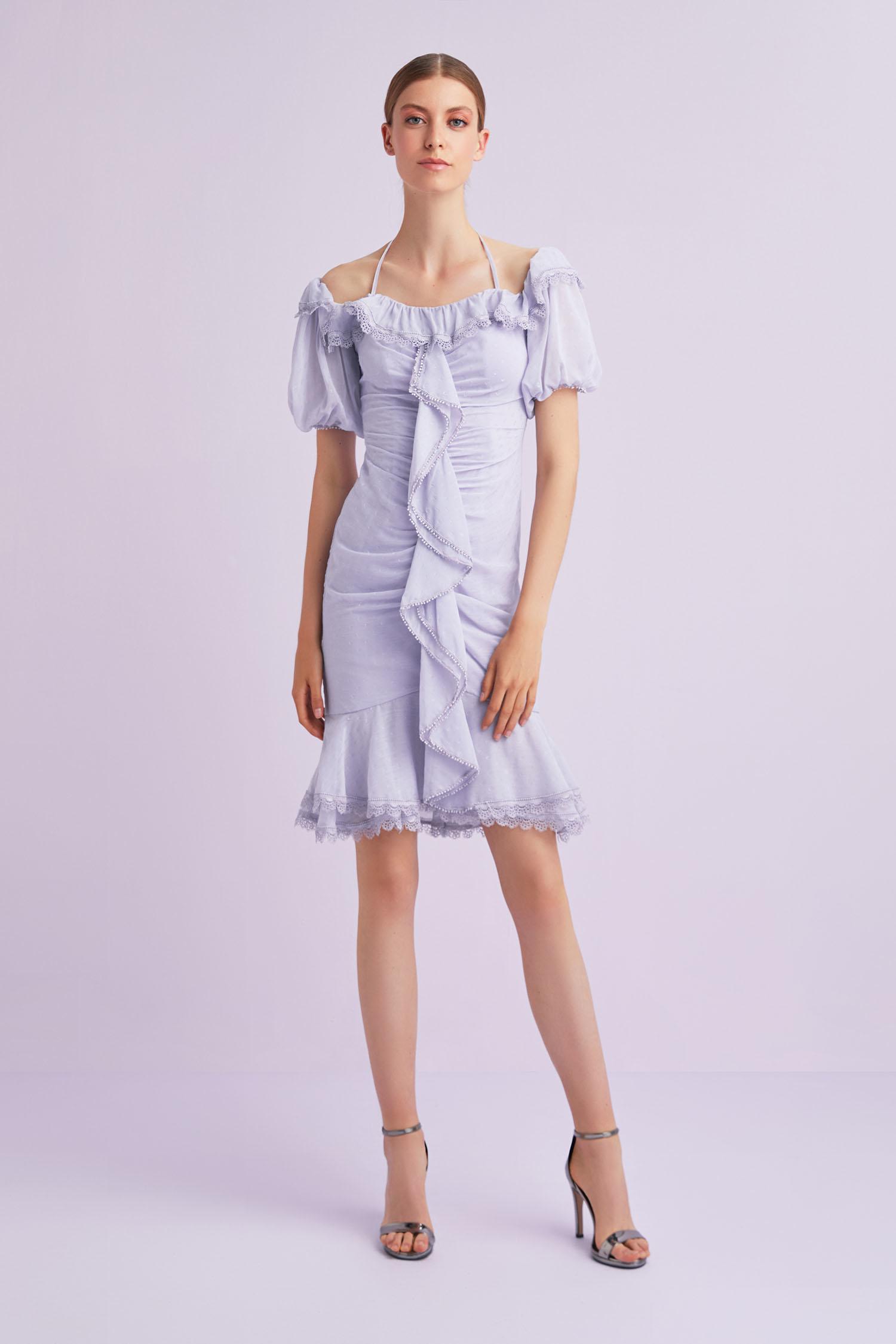 Lila Rengi Balon Kollu Fırfırlı Kısa Şifon Elbise - Thumbnail