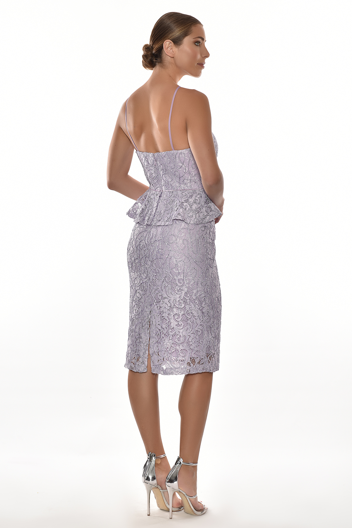 Alfa Beta - Lila Rengi Dantel İşlemeli Çapraz Halter Yaka Midi Boy Elbise (1)