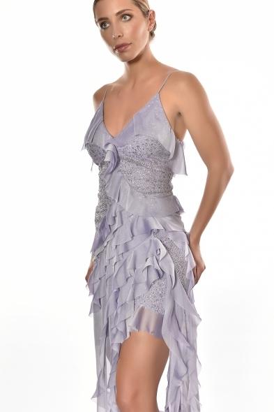 Alfa Beta - Lila Rengi İp Askılı V Yaka Fırfırlı Uzun Büyük Beden Elbise