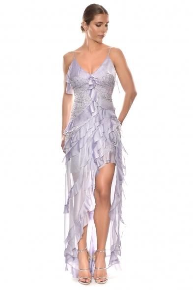 Alfa Beta - Lila Rengi İp Askılı V Yaka Fırfırlı Uzun Büyük Beden Elbise (1)