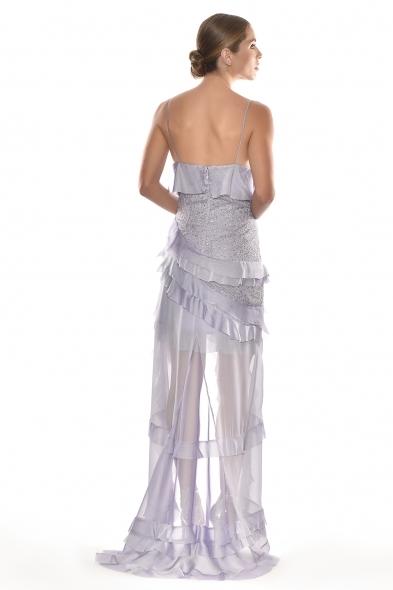 Alfa Beta - Lila Rengi İp Askılı V Yaka Fırfırlı Uzun Elbise (1)